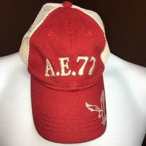 American Eagle AE 77 Adjustable Cap Red White Mesh